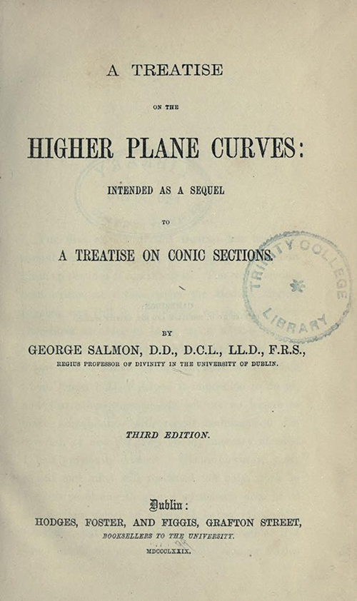 Title page of Treatise on Higher Plane Curves by George Salmon, third edition, 1879