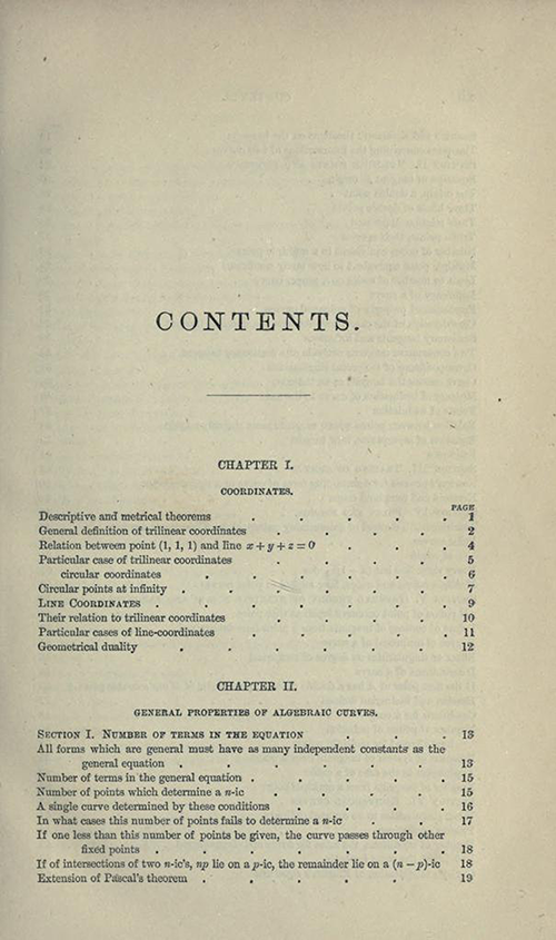 First page from table of contents to Treatise on Higher Plane Curves by George Salmon, third edition, 1879