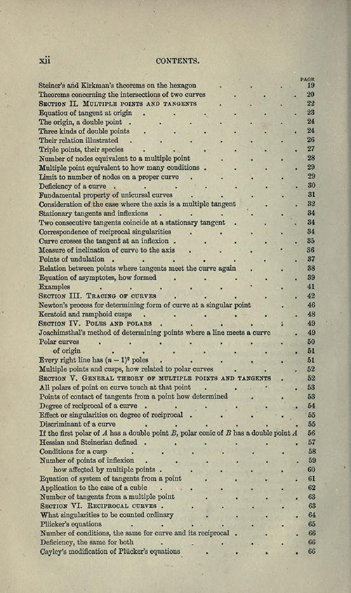 Second page from table of contents to Treatise on Higher Plane Curves by George Salmon, third edition, 1879