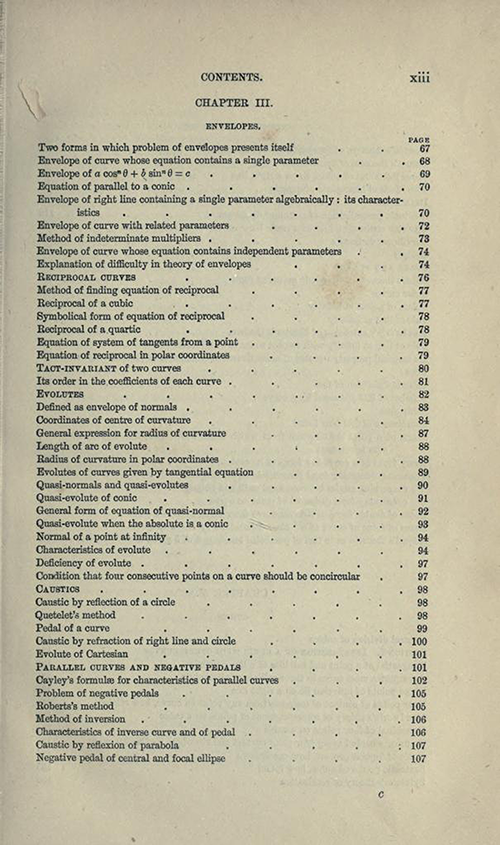 Third page from table of contents to Treatise on Higher Plane Curves by George Salmon, third edition, 1879