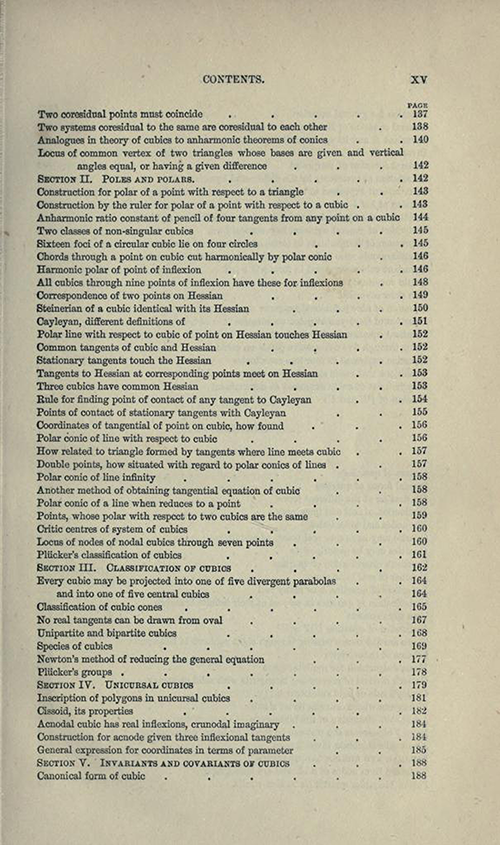 Fifth page from table of contents to Treatise on Higher Plane Curves by George Salmon, third edition, 1879