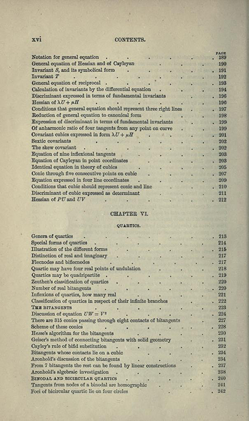 Sixth page from table of contents to Treatise on Higher Plane Curves by George Salmon, third edition, 1879