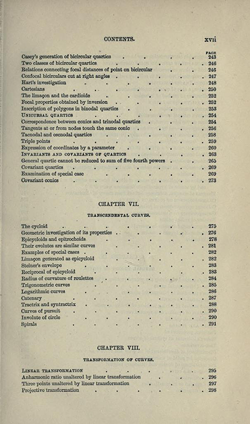 Seventh page from table of contents to Treatise on Higher Plane Curves by George Salmon, third edition, 1879