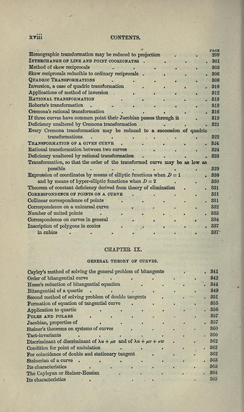 Eighth page from table of contents to Treatise on Higher Plane Curves by George Salmon, third edition, 1879