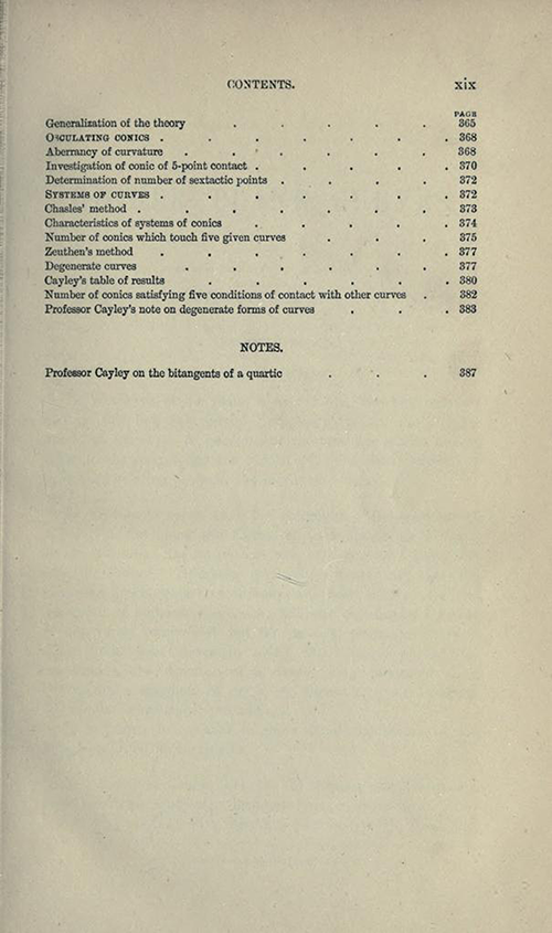 Ninth page from table of contents to Treatise on Higher Plane Curves by George Salmon, third edition, 1879