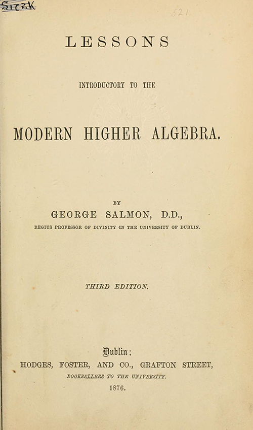 Title page of Lessons Introductory to the Modern Higher Algebra by George Salmon, third edition, 1876