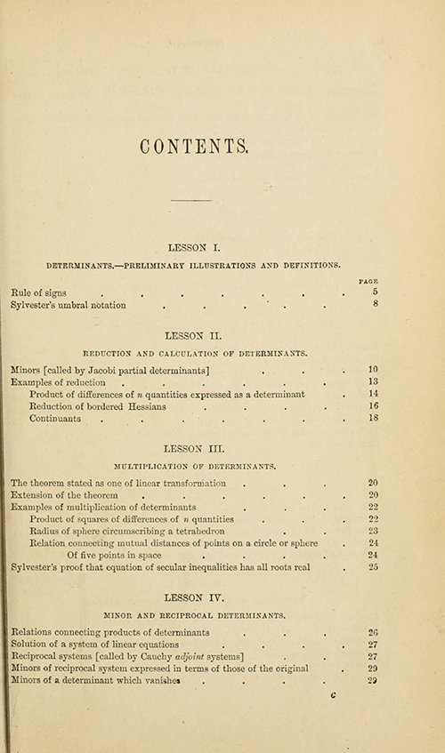 First page of the table of contents from Lessons Introductory to the Modern Higher Algebra by George Salmon, third edition, 1876