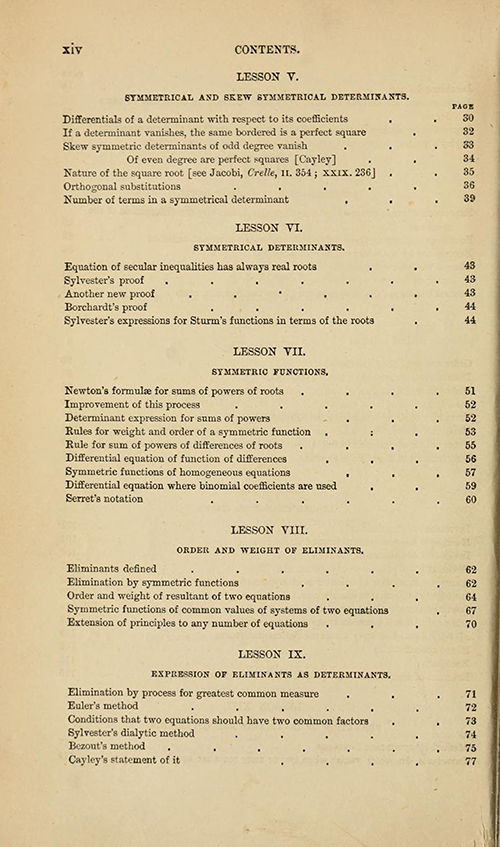 Second page of the table of contents from Lessons Introductory to the Modern Higher Algebra by George Salmon, third edition, 1876