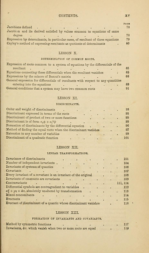 Third page of the table of contents from Lessons Introductory to the Modern Higher Algebra by George Salmon, third edition, 1876