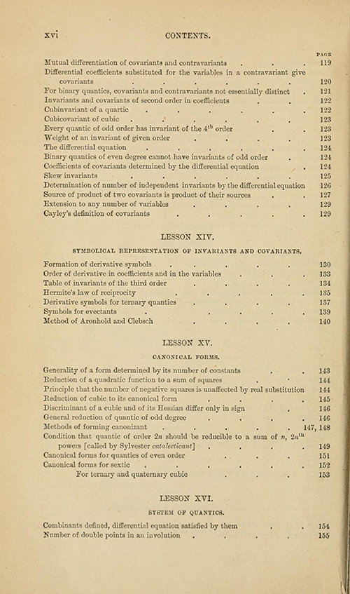Fourth page of the table of contents from Lessons Introductory to the Modern Higher Algebra by George Salmon, third edition, 1876