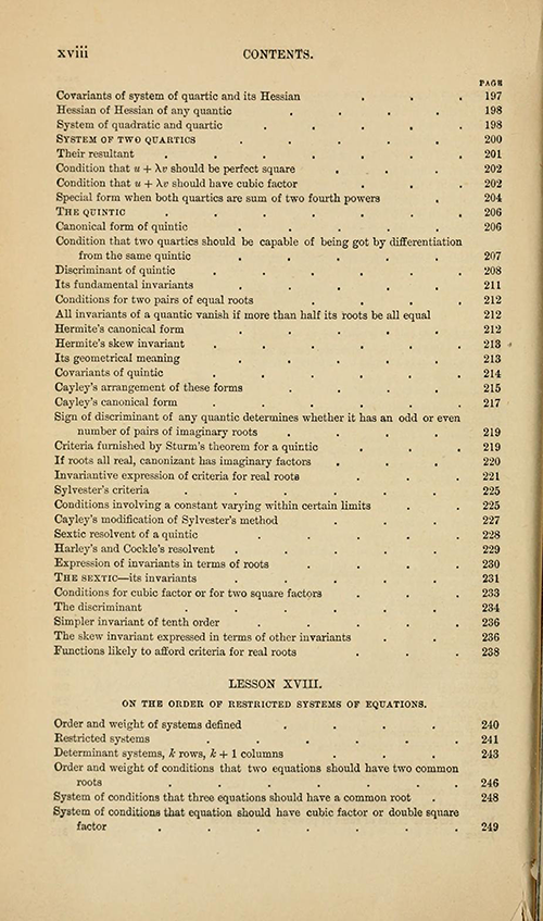 Sixth page of the table of contents from Lessons Introductory to the Modern Higher Algebra by George Salmon, third edition, 1876