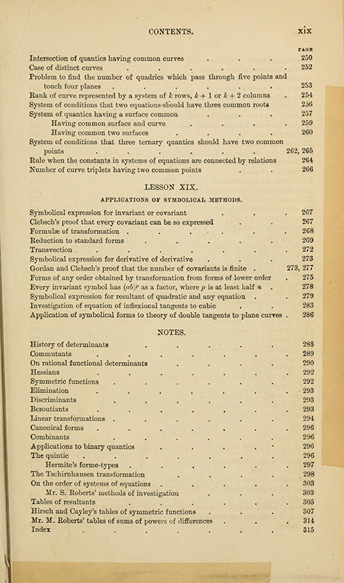 Seventh page of the table of contents from Lessons Introductory to the Modern Higher Algebra by George Salmon, third edition, 1876