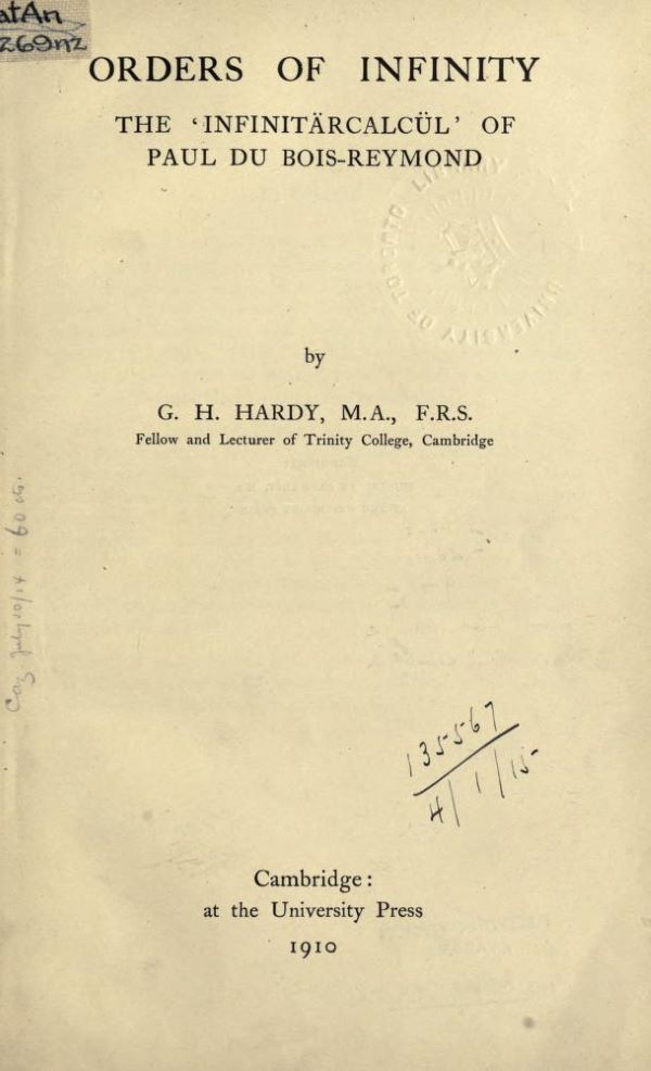 Title page of Orders of Infinity by G. H. Hardy, 1910
