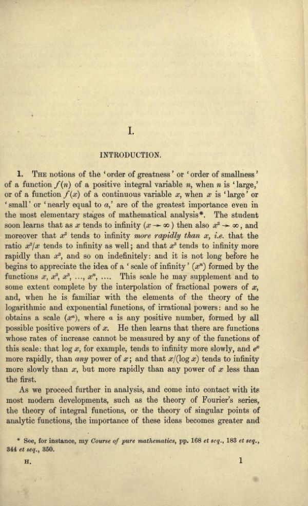 First page of Orders of Infinity by G. H. Hardy, 1910