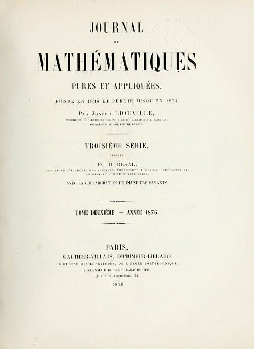 Mathematical Treasure: Liouville's Journal of Pure and