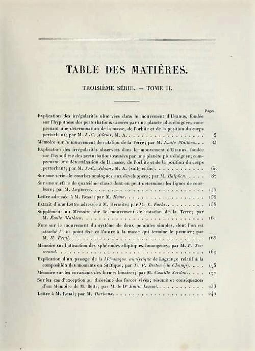 First page of table of contents of Volume 2, Series 3 of Journal de Mathématiques Pures et Appliquées, 1876