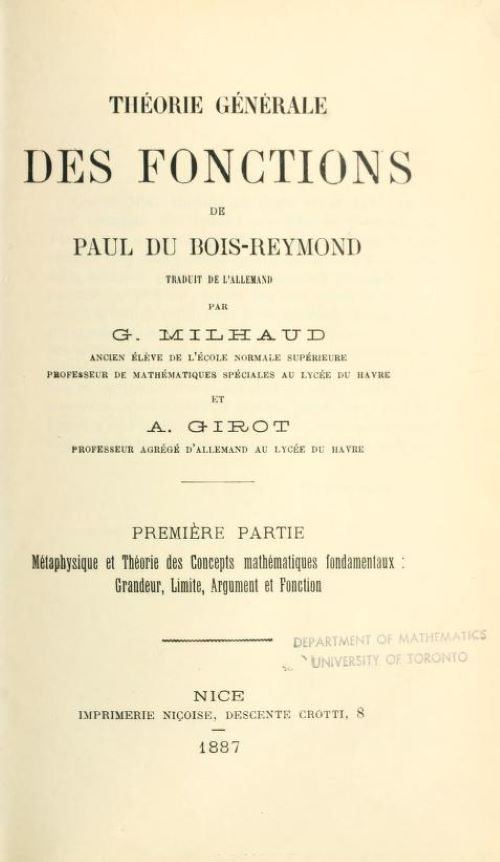 Title page of Theorie Generale Des Fonctions by Paul du Bois-Reymond, 1887