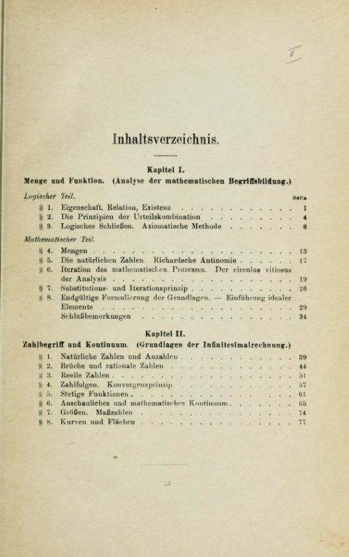 Table of contents of Das Kontinuum by Hermann Weyl, 1918