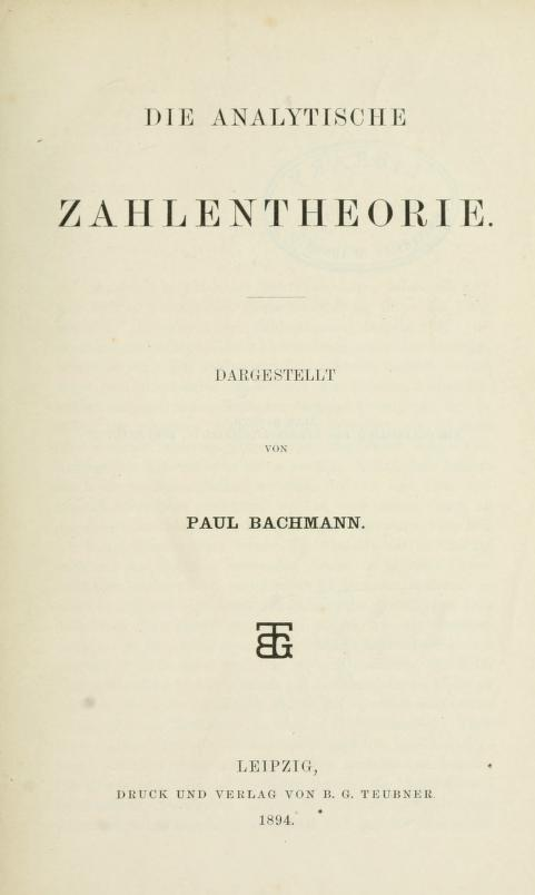 Title page of Die analytische Zahlentheorie by Paul Bachmann, 1894