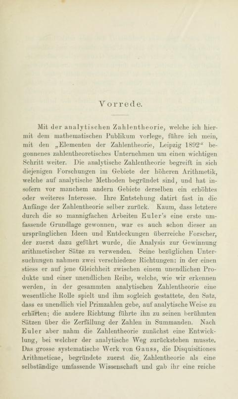 First page of the preface to Die analytische Zahlentheorie by Paul Bachmann, 1894