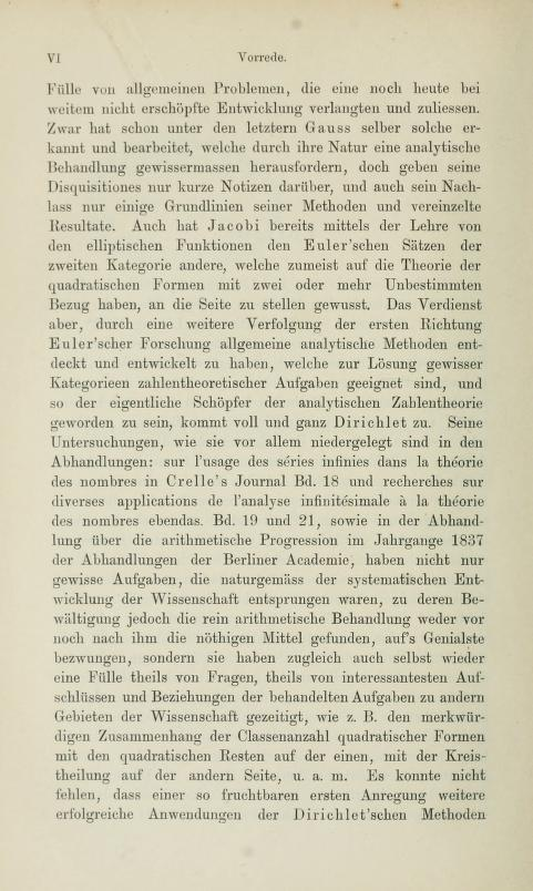 Second page of the preface to Die analytische Zahlentheorie by Paul Bachmann, 1894