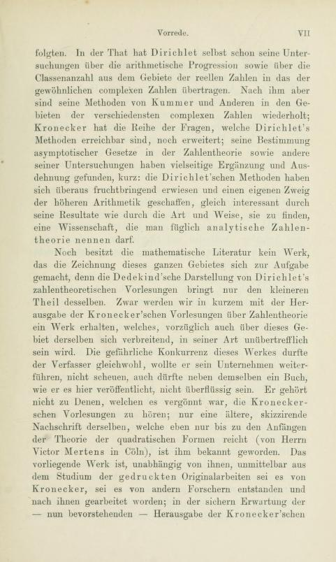 Third page of the preface to Die analytische Zahlentheorie by Paul Bachmann, 1894