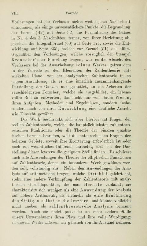 Fourth page of the preface to Die analytische Zahlentheorie by Paul Bachmann, 1894