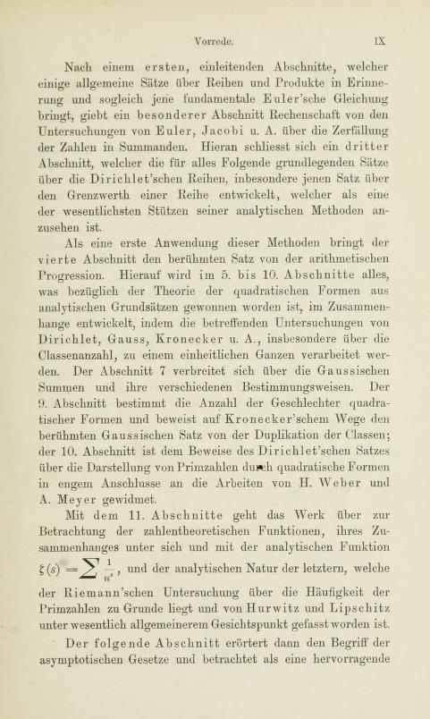 Fifth page of the preface to Die analytische Zahlentheorie by Paul Bachmann, 1894