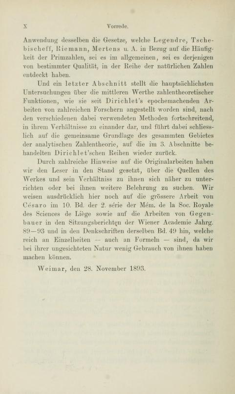 Sixth page of the preface to Die analytische Zahlentheorie by Paul Bachmann, 1894