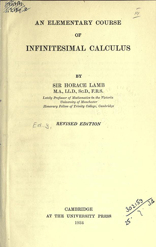 Title Page of An Elementary Course of Infinitesimal Calculus by Horace Lamb (1934 edition)