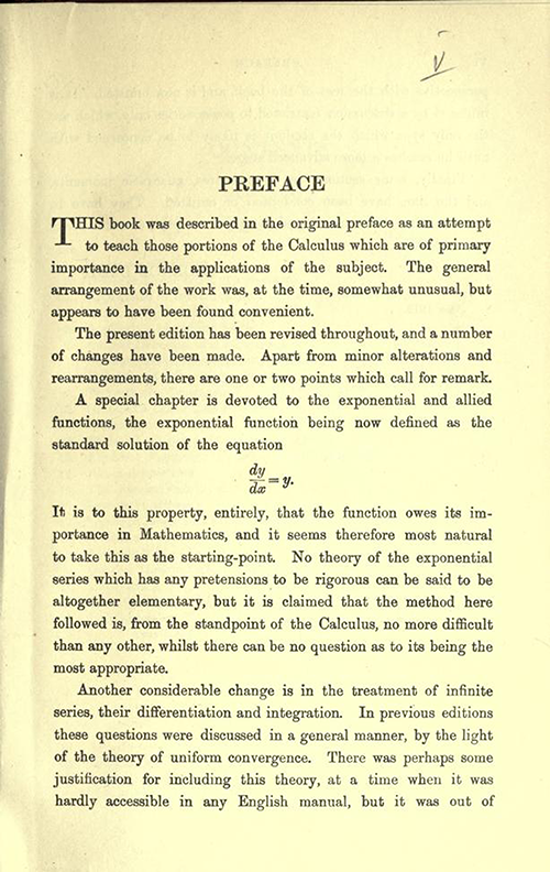 First page of Preface of An Elementary Course of Infinitesimal Calculus by Horace Lamb (1934 edition)