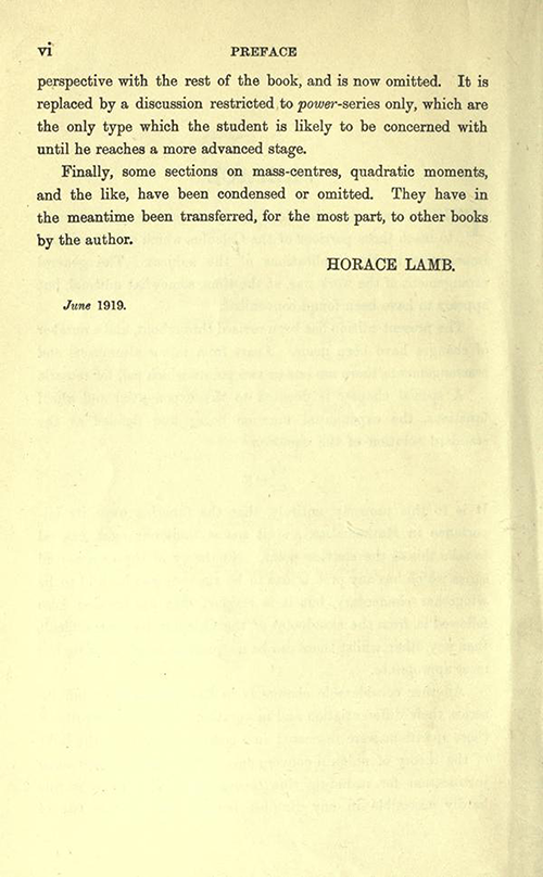 Second page of Preface of An Elementary Course of Infinitesimal Calculus by Horace Lamb (1934 edition)