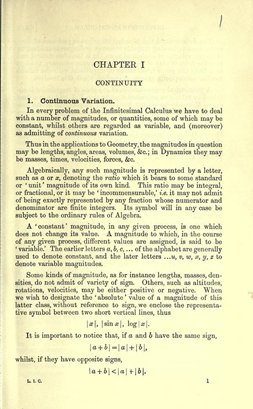 First page of Chapter 1 of An Elementary Course of Infinitesimal Calculus by Horace Lamb (1934 edition)