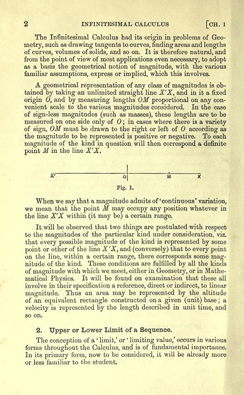 Second page of Chapter 1 of An Elementary Course of Infinitesimal Calculus by Horace Lamb (1934 edition)