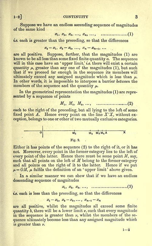 Third page of Chapter 1 of An Elementary Course of Infinitesimal Calculus by Horace Lamb (1934 edition)