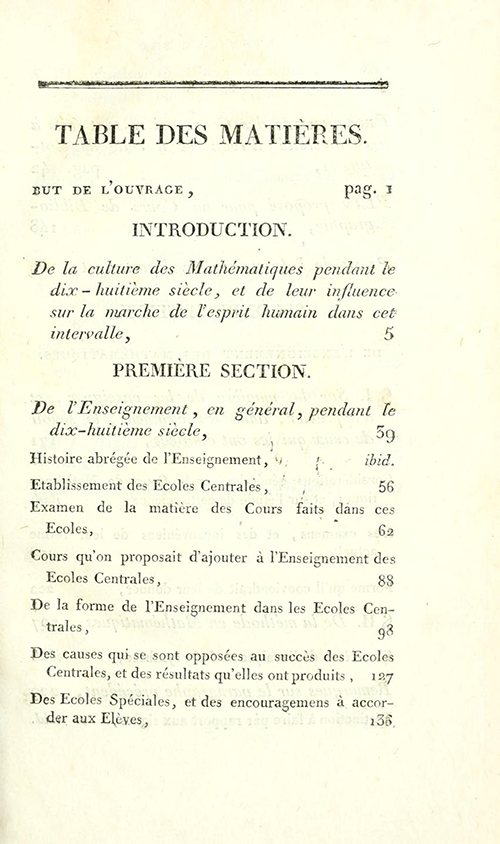 First page of table of contents for Essais sur L'Enseignement en Général by Sylvestre Lacroix, second edition, 1816