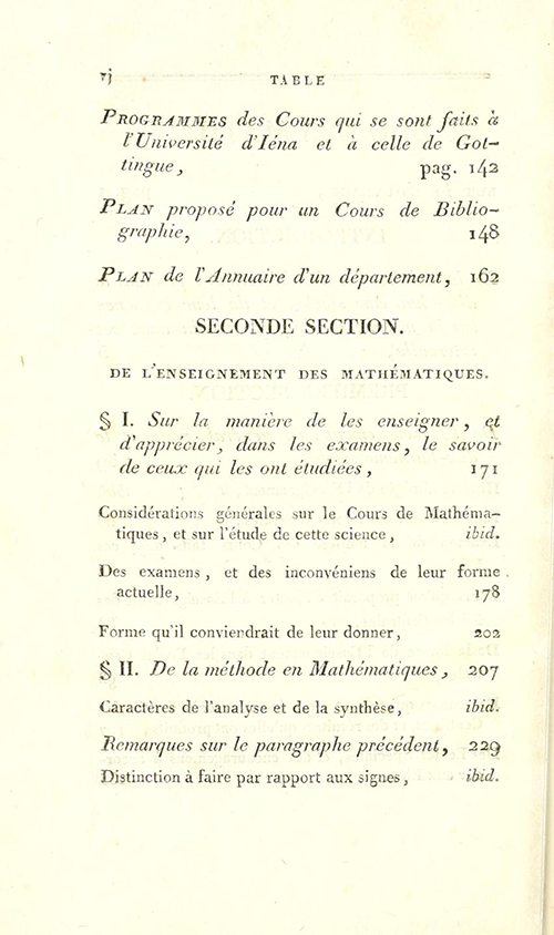 Second page of table of contents for Essais sur L'Enseignement en Général by Sylvestre Lacroix, second edition, 1816