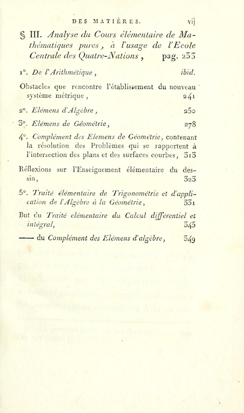 Third page of table of contents for Essais sur L'Enseignement en Général by Sylvestre Lacroix, second edition, 1816