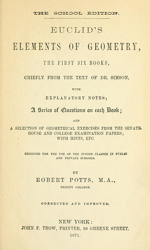 Title page of Euclid's Elements of Geometry by Robert Potts from 1871