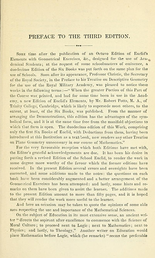 First page of the Preface to Euclid's Elements of Geometry by Robert Potts from 1871