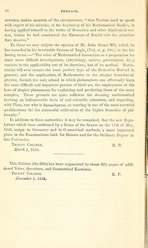 Fourth page of the Preface to Euclid's Elements of Geometry by Robert Potts from 1871