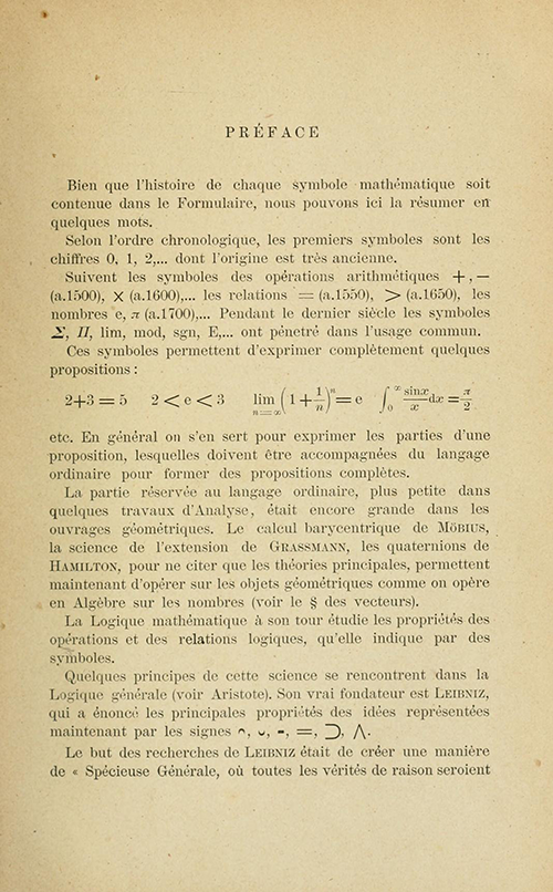 First page of preface of Formulaire de Mathématiques by Giuseppe Peano, 1901