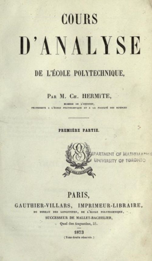 Title page of Cours d'Analyse by Charles Hermite, 1873