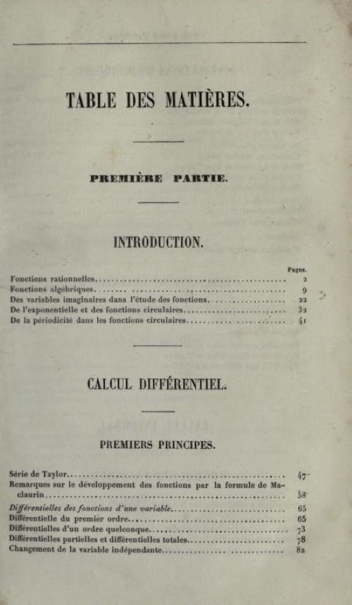 First page of table of contents of Cours d'Analyse by Charles Hermite, 1873