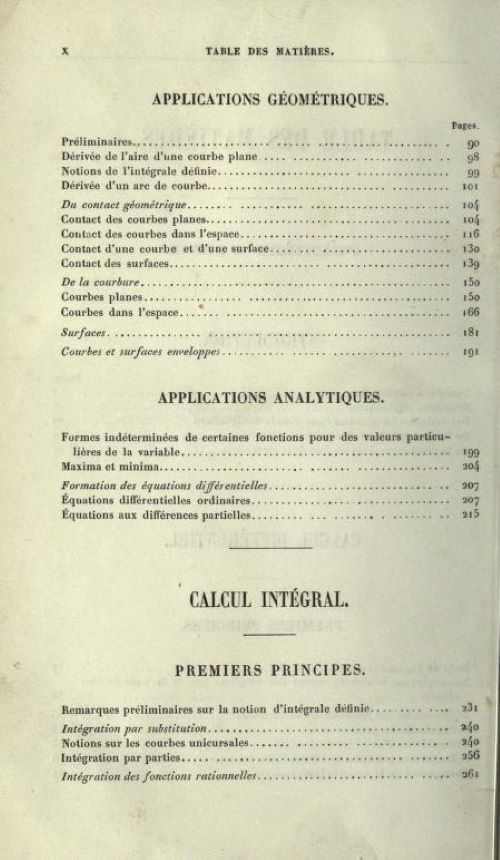 Second page of table of contents of Cours d'Analyse by Charles Hermite, 1873