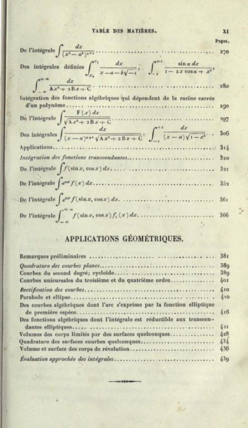 Third page of table of contents of Cours d'Analyse by Charles Hermite, 1873