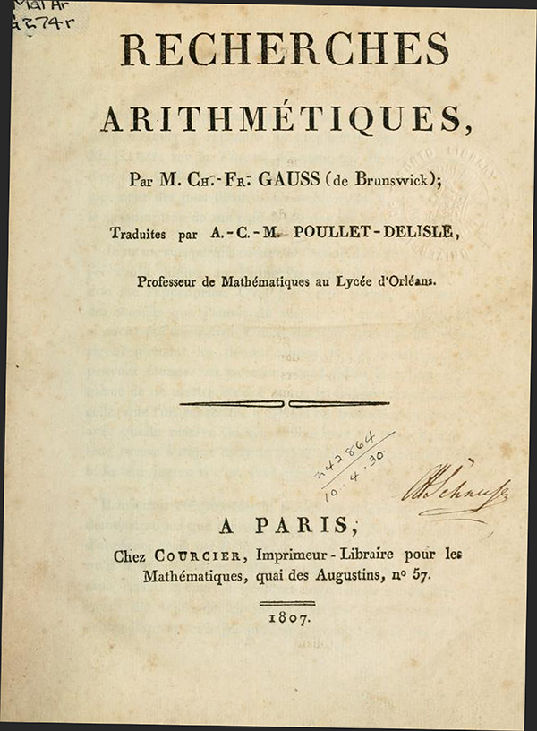 Title page of Recherches Arithmétiques by Carl Friedrich Gauss, 1807