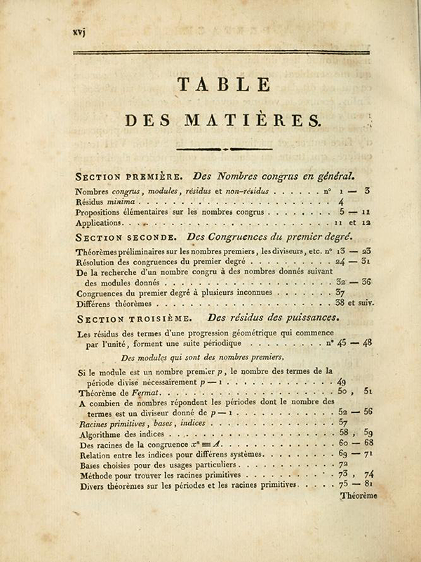 First page of table of contents of Recherches Arithmétiques by Carl Friedrich Gauss, 1807