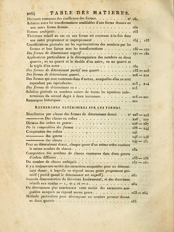 Third page of table of contents of Recherches Arithmétiques by Carl Friedrich Gauss, 1807