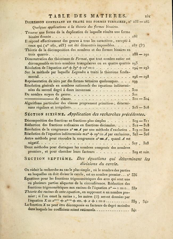 Fourth page of table of contents of Recherches Arithmétiques by Carl Friedrich Gauss, 1807